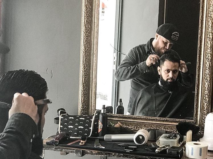 Ken Biddle at Barnet Fair barber shop